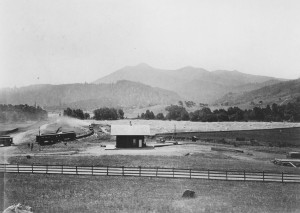 San Anselmo's first depot, c. 1875. View is to the south from, approximately, the present-day intersection of Sir Francis Drake, Center Boulevard and Greenfield Avenue.