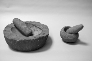 Mortars and pestles used to grind acorns.