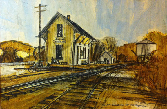 Train Time in San Anselmo, painting by Ron McKee, 1960s