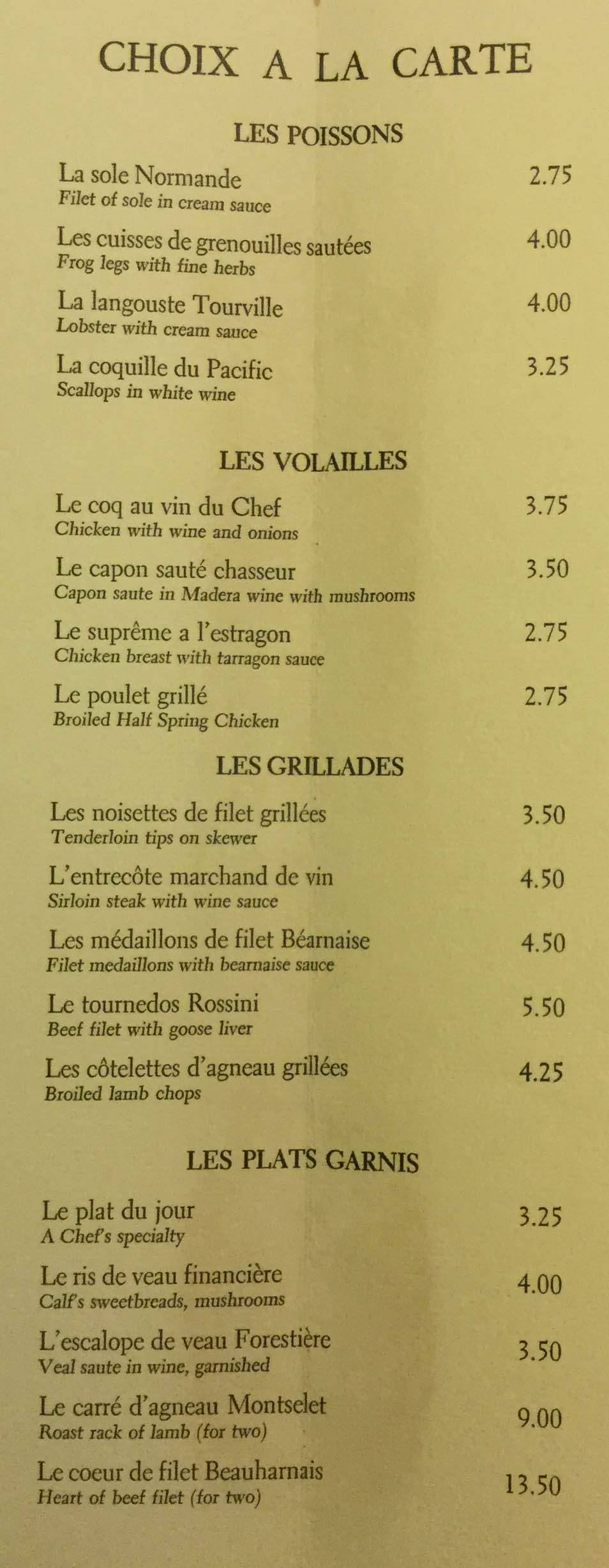Lafite Restaurant Menu